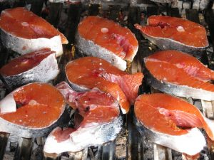Fresh salmon steaks - so reasonably priced from the supermarket fish counter