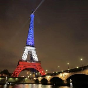 The Eiffel Tower - lit up in the national colours to show defiance to terrorists. But if you don't go red, white and blue, it doesn't mean you don't care!