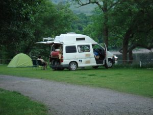 Our faithful Toyota Hi-Ace, parked up on the banks of Loch Lomond in June 2007